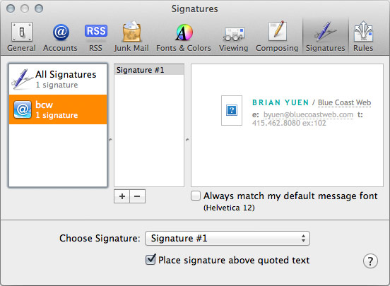 Creating Complex Html Email Signatures In Mail App For Mac Osx Mountain Lion Blue Coast Web